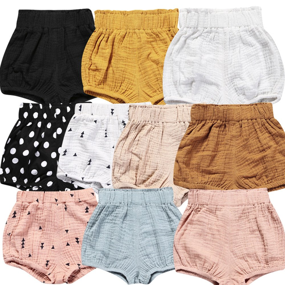 Birdfly Toddler Baby Basic Bloomers Diaper Cover Infant Boys Girls Bottom Shorts Cotton Clothes Light Yellow,12-18 Months