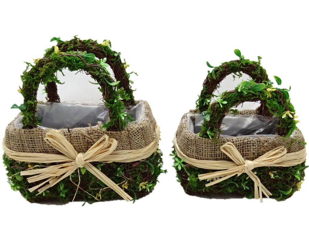Byher 12167 Preserved Moss Flower Basket for Girl Wedding (Set of 2)