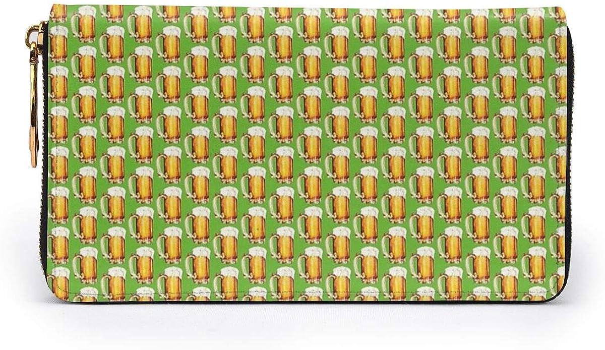Patricks Day Women Leather Zipper Wallet Travel Bags Beer St