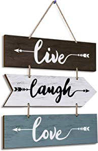 Hanging Wall Sign Live Laugh Love Wood Sign Rustic Style Arrow Wall Decor Farmhouse Plaque Hanging Sign for Living Room Kitchen Bedroom Laundry Bathroom Kitchen Office House Warming