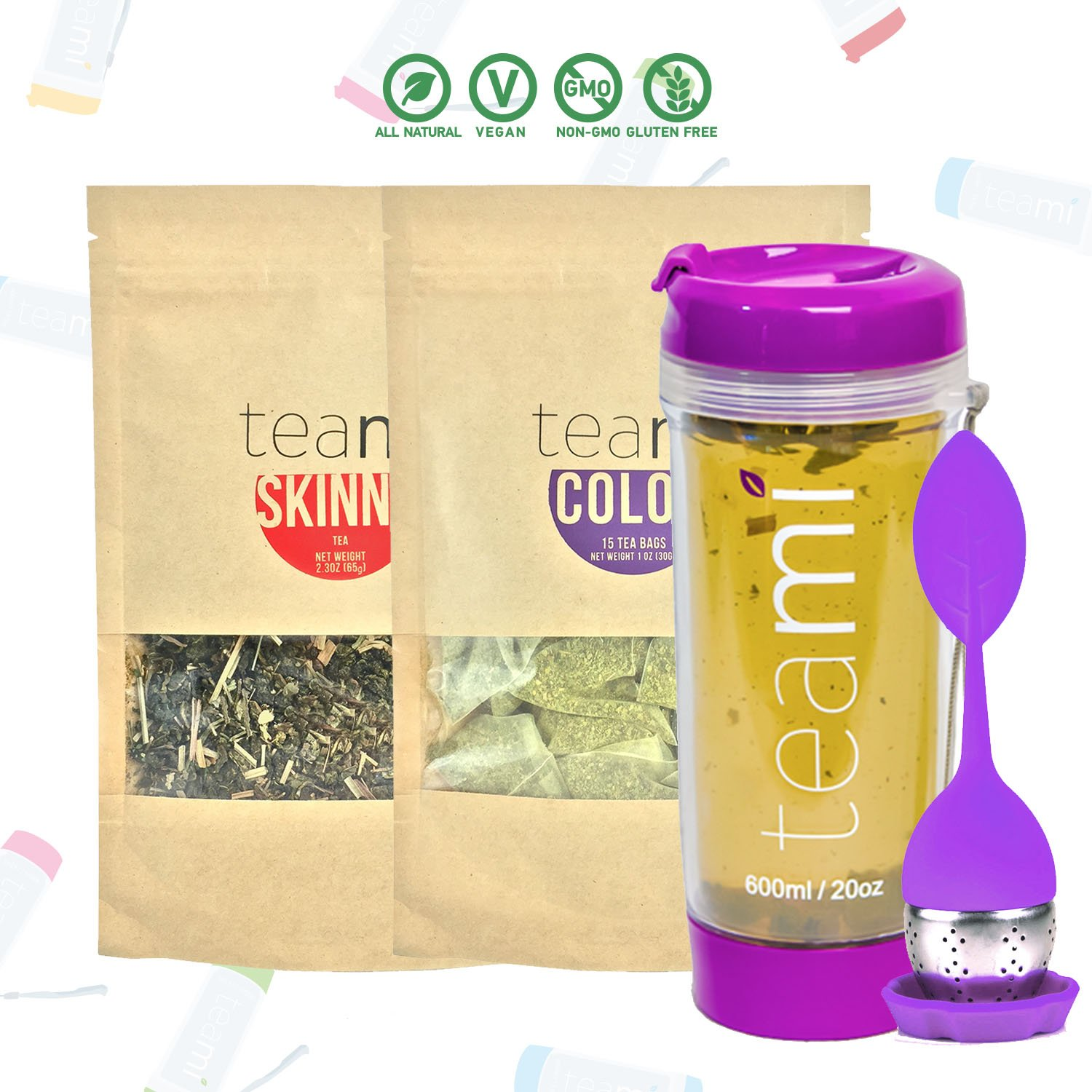 Teami® 30-Day Detox Tea Starter Pack: All-Natural Teatox Kit with Teami Skinny & Teami Colon Cleanse Loose Leaf Herbal Teas (w/20oz Purple Tumbler and Infuser)