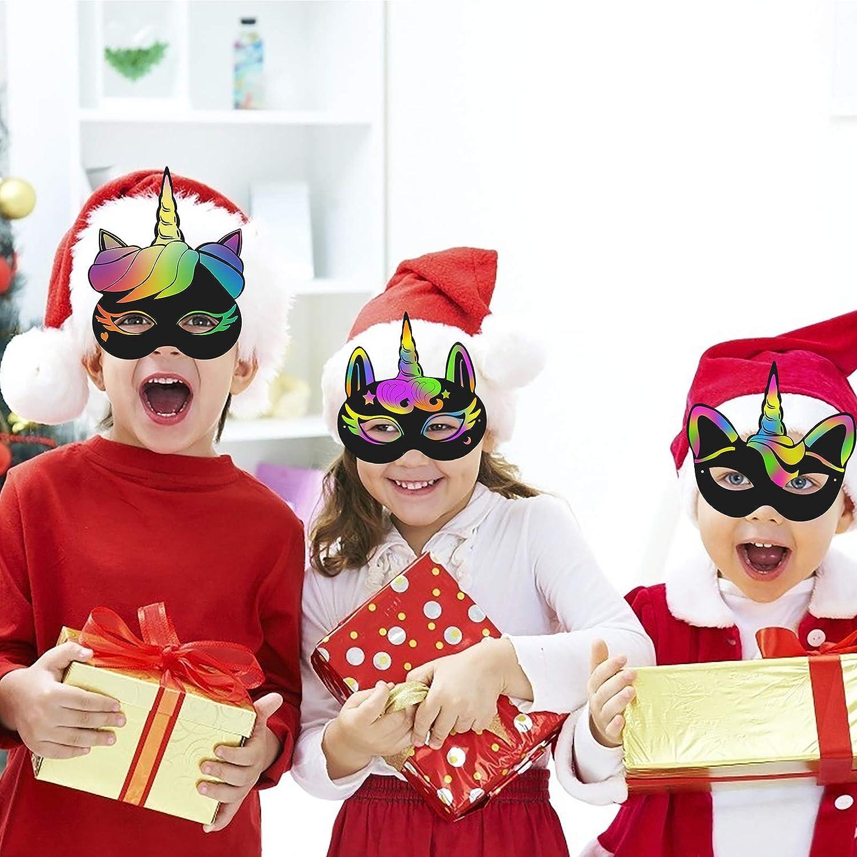BIGKASI 24Pcs Einhorn Masken Set DIY Kratzbild Regenbogen Kratzpapier Unicorn Augenbinde mit Holzstiften und Gummiband Kreatives Bastelset f/ür M/ädchen Jungen Geschenk Kinder Geburtstag Party 6 Stil