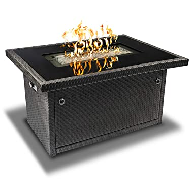 Outland Living Series 401 Grey 44-Inch Outdoor Propane Gas Fire Pit Table, Black Tempered Tabletop w/Arctic Ice Glass Rocks and Resin Wicker Panels, Slate Grey/Rectangle