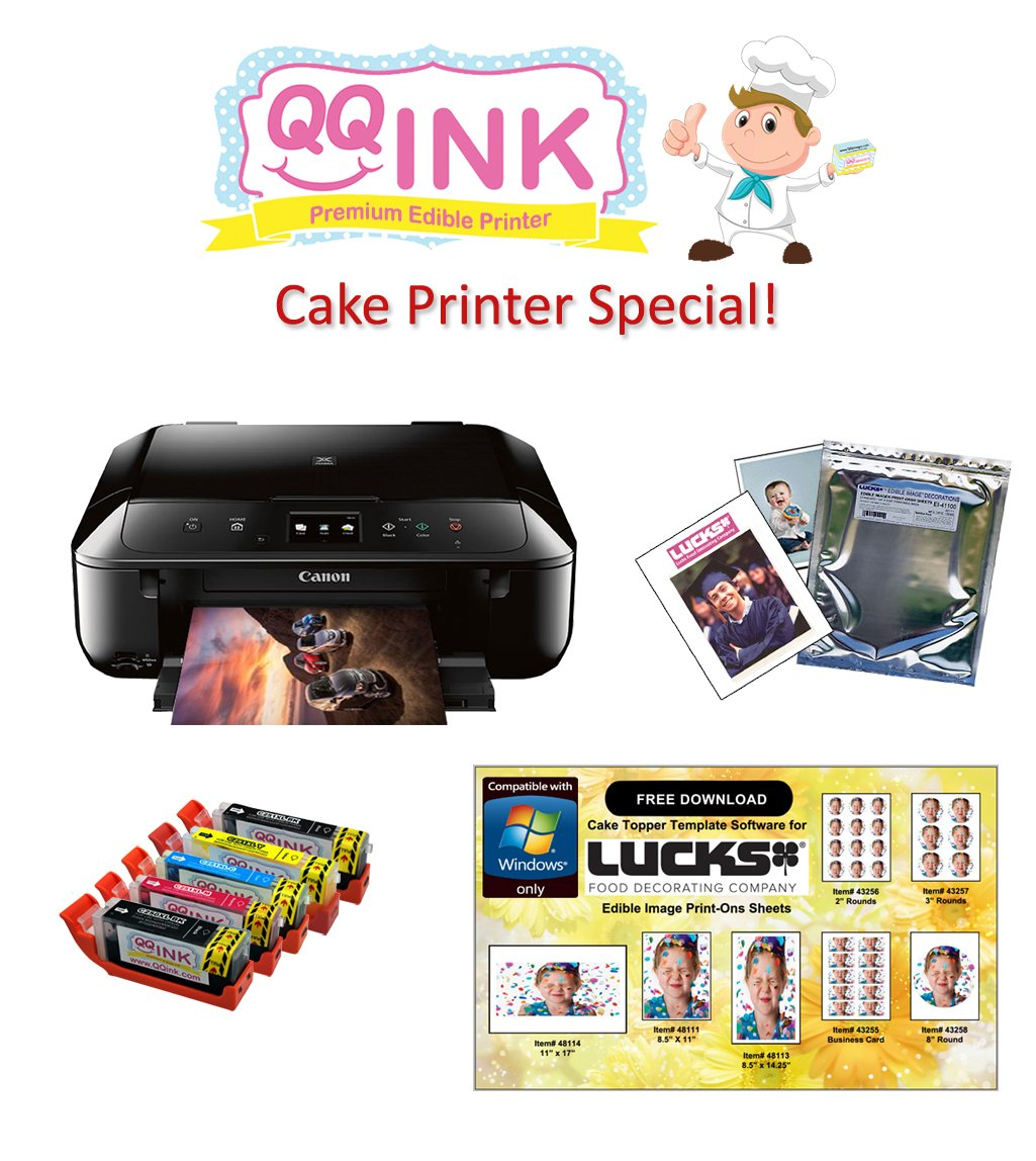 QQink Cake Printer Bundle - Canon MG6820 Comes with Edible Ink & Edible Paper