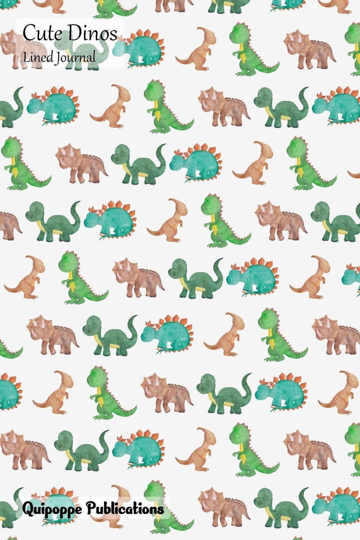 Cute Dinos Lined Journal: Medium Lined Journaling Notebook, Cute Dinos Cutest Dinosaurs Pattern Cover, 6x9