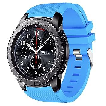AMERTEER Correa de reloj Gear S3 Frontier / Classic, Correas de silicona suave para Samsung Gear S3 Frontier / S3 Classic / Moto 360 2nd Gen 46 mm ...