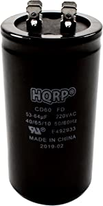 HQRP Start Capacitor Works with LiftMaster 30B363 30B532 30B532-1 Chamberlain, Sears Craftsman, Master Mechanic 1/2 Hp Garage Door Opener 53-64MFD 53-64uf 220V CD60