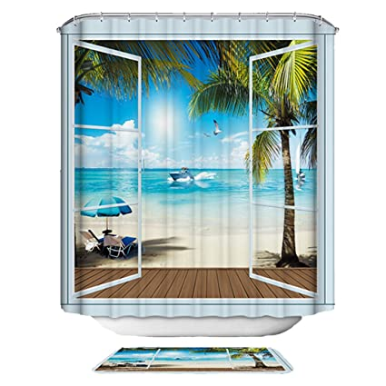 Image Unavailable Not Available For Color VAKADO Beach Ocean Scene Shower Curtain