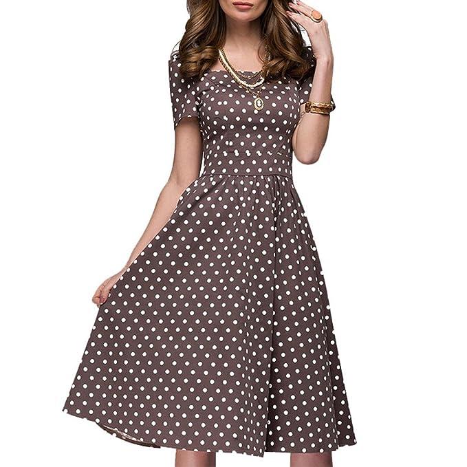 900355aeaa54 Yujeet Donna Swing Vestito a Pois A-Line Slim Fit Manica Corta Abito  Elegant Vintage