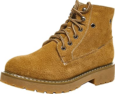Abby 803 Womens Comfort Flat Work Job Flat Cowhells Outsole Lace Up Leather Combat Warm Winter Martin Boots