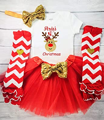 624bfa191 Baby 6 MonthsBaby Girl 1st Christmas Outfit, My First Christmas Outfit,  Rudolf Bodysuit,