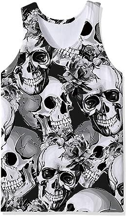 Crâne 3D Imprimé Gilet Homme Sans Manches Tank Top Casual Workout graphique tee shirt