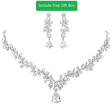 LILIE&WHITE Clear Crystal and Cubic Zircon Necklace and Earrings Jewelry Set for Wedding, Prom, Bridesmaids or Mother of Bride