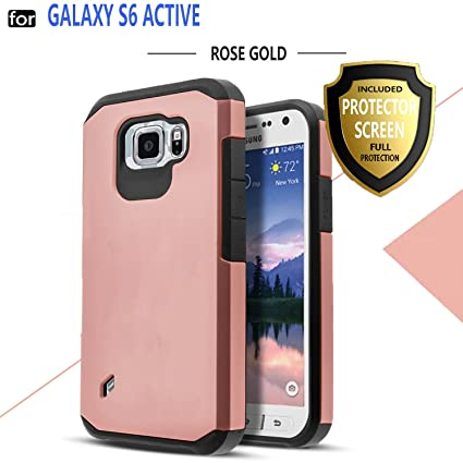 Galaxy S6 Active Case, Samsung Galaxy S6 Active Case, Starshop Hybrid [Shock Absorption] Rugged Impact Advanced Armor Soft Silicone Cover with [ ...