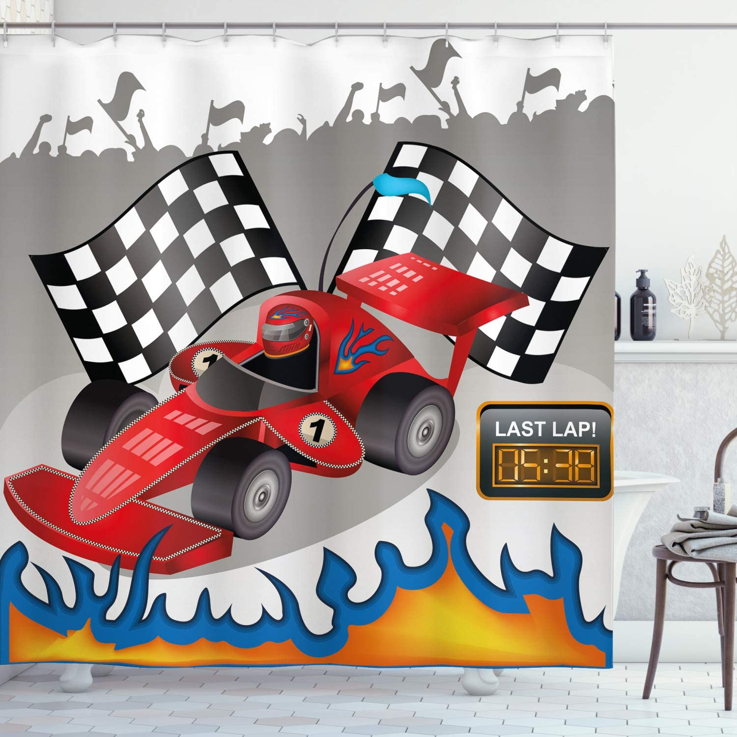 Ambesonne Cars Shower Curtain, Race Car Finish Line Flags Pilot Abstract Plain Background Print, Cloth Fabric Bathroom Decor Set with Hooks, 84