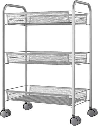Homfa 3-Tier Mesh Wire Rolling Cart Multifunction Utility Cart Kitchen Storage Cart on Wheel