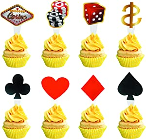 Arthsdite Pack of 48 Poker Heart Vegas Casino Cupcake Toppers Playing Cards Fruit Food Cupcake Picks for Gambling Theme Party Decoration
