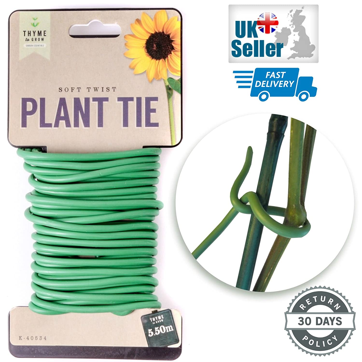 Single Pack 5.5m Thyme To Grow Soft Twist Garden Thick Plant Tie Support Durable Reusable Free UK Delivery
