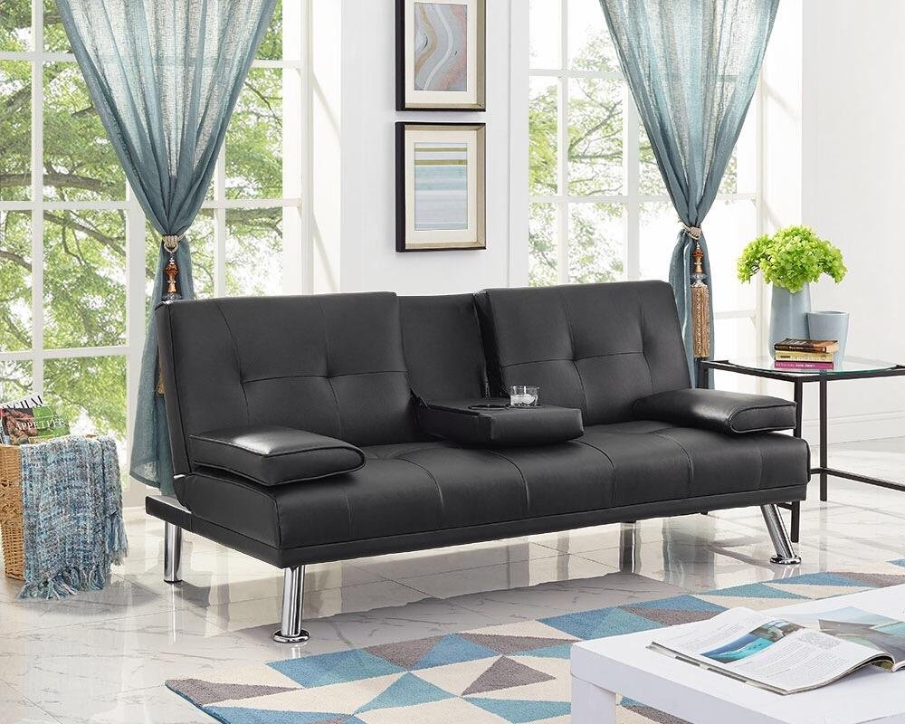 Naomi Home Futon Sofa Bed with Armrest Black