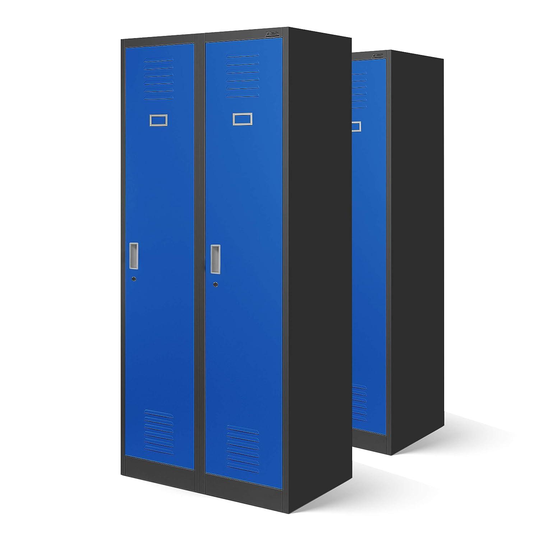 2er Set Garderobenschrank Stahlspind Spind Kleiderspind Doppelspind 2 Abteile Flügeltüren Trennwand Pulverbeschichtung 180 cm x 80 cm x 50 cm(H x B x T) (grau/blau)