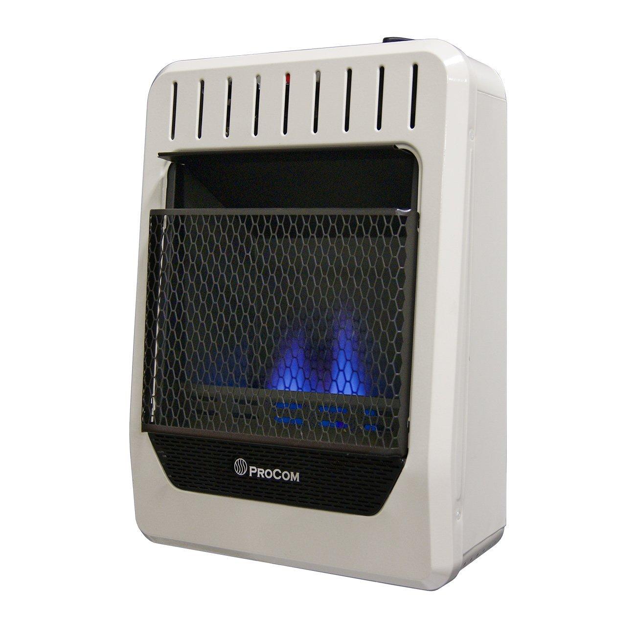 ProCom Heating Ventless INC MGH10BF 10,000 BTU Dual Fuel Blue Flame Gas Wall Heater, White by ProCom Heating