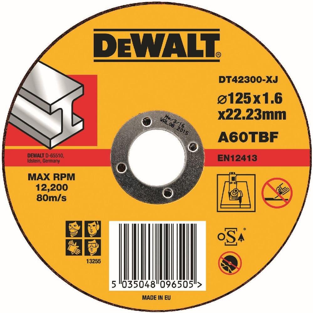 Dewalt DT42300 Metal Cutting Disc, T1, 125 mm x 1.6 mm x 22.2 mm DT42300-XJ