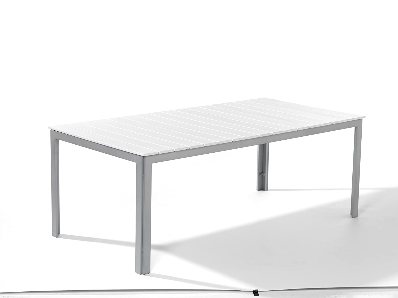 Amazon.de: Dacore Aintwood Gartentisch 200 x 100 cm silber / weiß