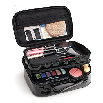 451076f4b5 Amazon.com   Cosmetic Bag Makeup Brush Organizer Bysiter Makeup Case Double  Layer Makeup Pouch with Belt Strap Holder for Cosmetics Beauty accessories