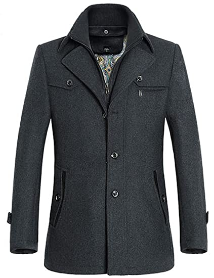 grand choix de 600f7 be473 Allthemen Manteau Homme en Laine Chaud Court Epais Slim Fit Business avec  Un Col Accessoire Jacket d'hiver Trench-Coat Homme