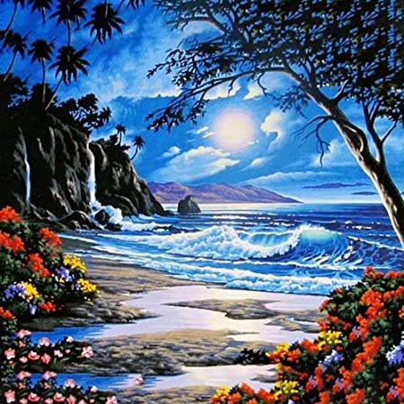 Moon on Beach Scenery Canvas Picture Acrylic DIY Paint Set by Numbers Kits Decor