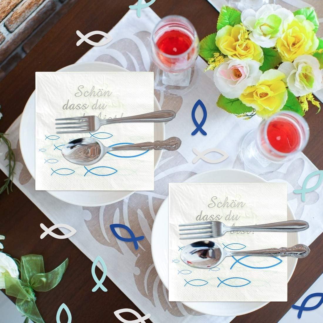 battesimo bambino cresima decorazione per battesimo turchese 80 pezzi in legno Tovaglioli a forma di pesce blu per cresima comunione per ragazzi decorazione da tavolo