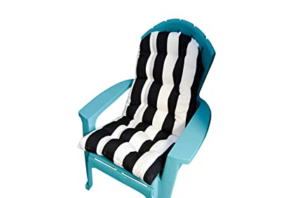 Outdoor Tufted Adirondack Chair Cushion   Black U0026 White Stripe