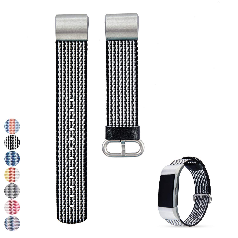 Feskio Fitbit Charge 2 ウォッチバンドストラップ アクセサリー 交換用 ナイロン生地 腕時計バンド リストストラップ ブレスレット Fitbit Charge2 スマートウォッチ用 B07K42Y7PB ブルー