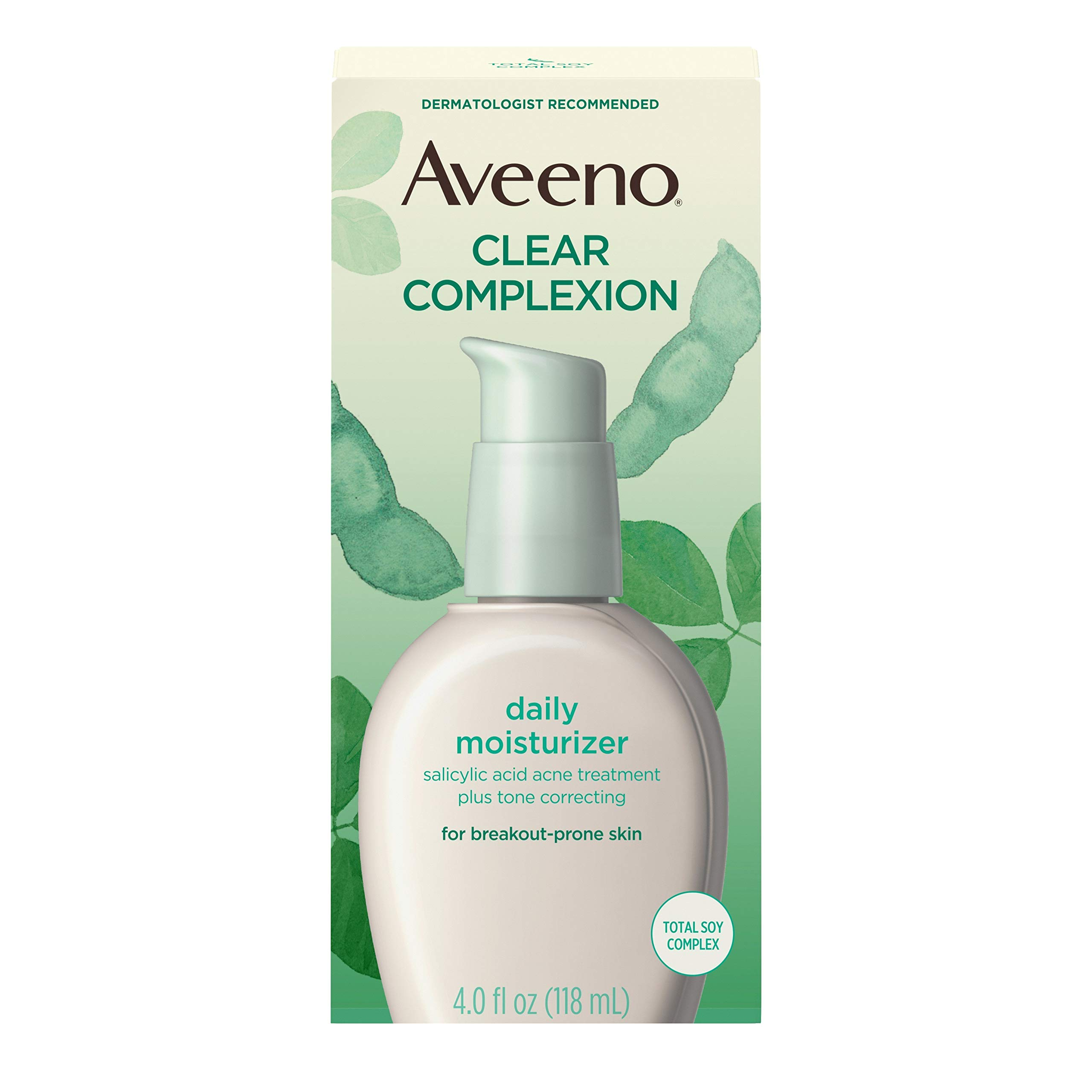 Aveeno Clear Complexion Salicylic Acid Acne-Fighting Daily Face Moisturizer with Total Soy Complex, For Breakout-Prone Skin, Oil-Free and Hypoallergenic, 4 fl. oz by Aveeno