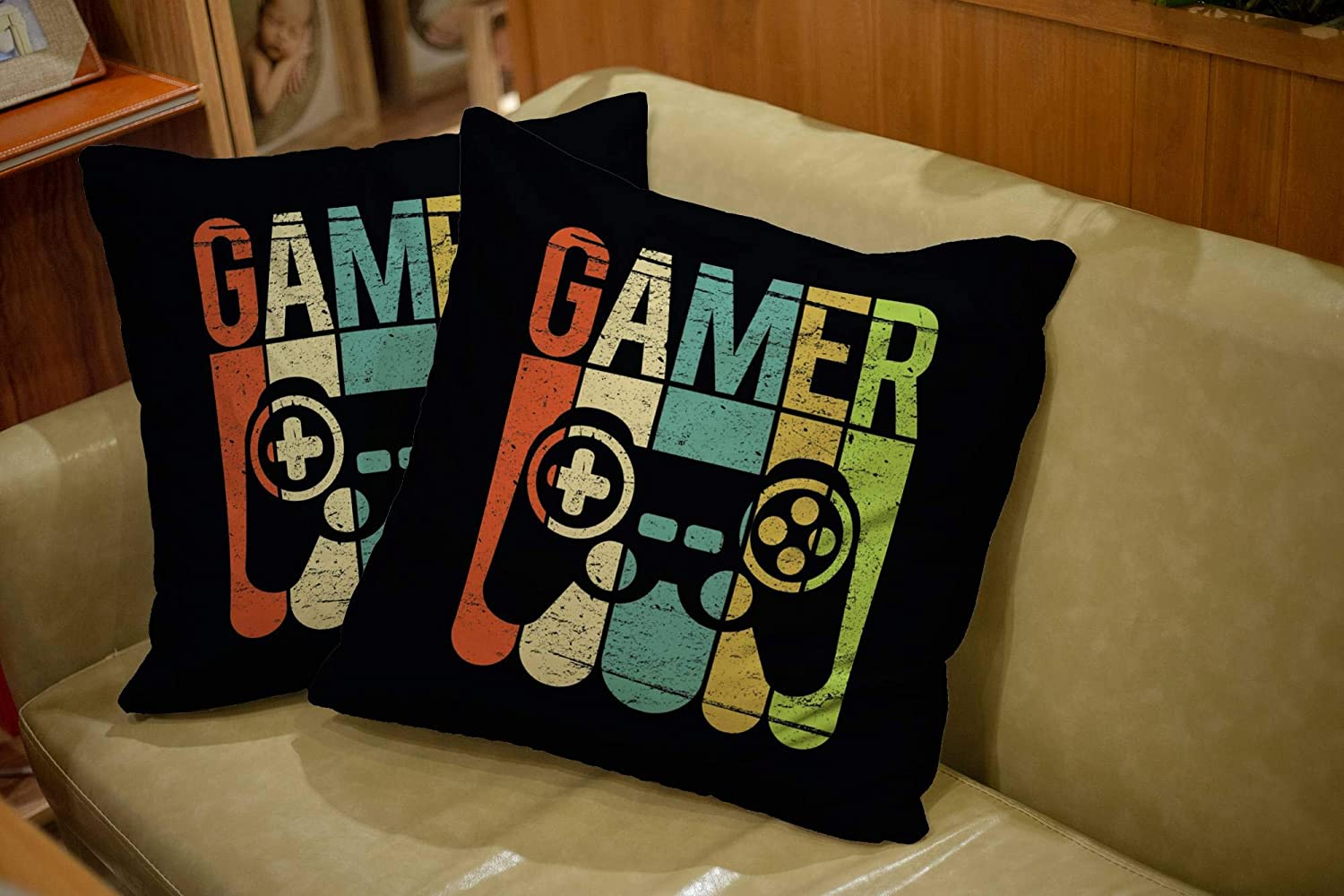 TOMKEY 2 Packs Hidden Zippered 18X18Inch Soft Game Controller case,Gamer Decorative Throw Cotton Pillow Case Cushion Cover for Home Decor,Black Green: Home & Kitchen