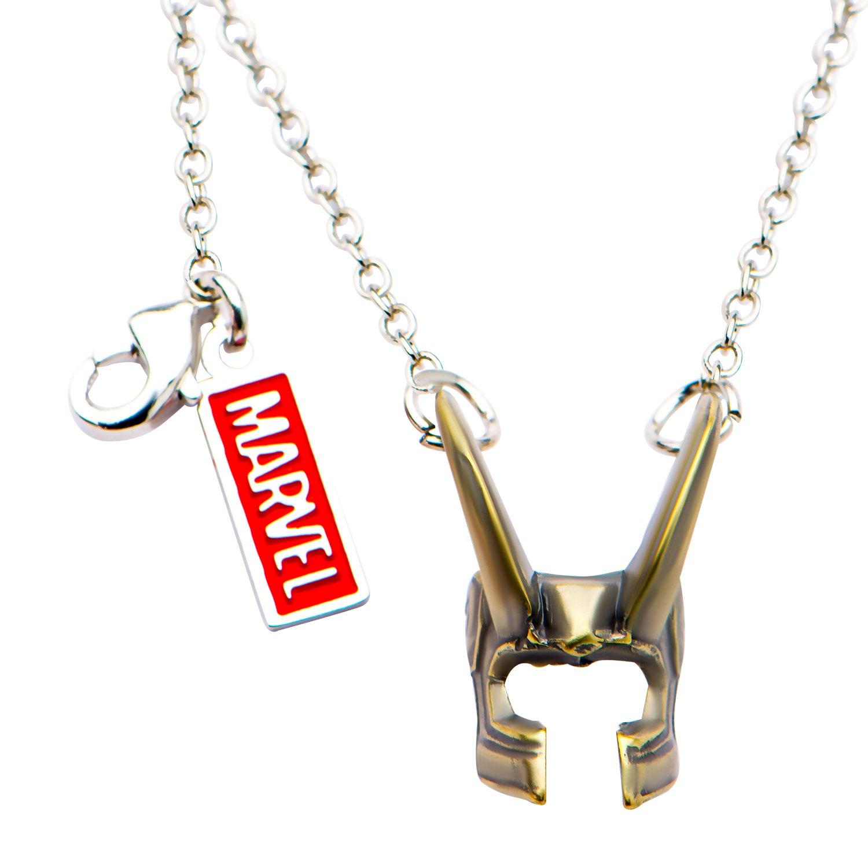 Marvel Comics Unisex Adult Base Metal Loki Helmet Chain Pendant Necklace, Silver, One Size