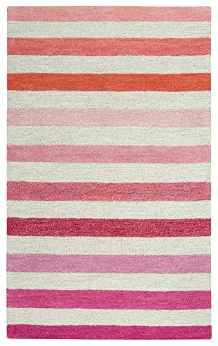 Rizzy Home Play Day Collection Wool Area Rug, 5 x 7 , Pink Light Pink Dark Pink Stripes