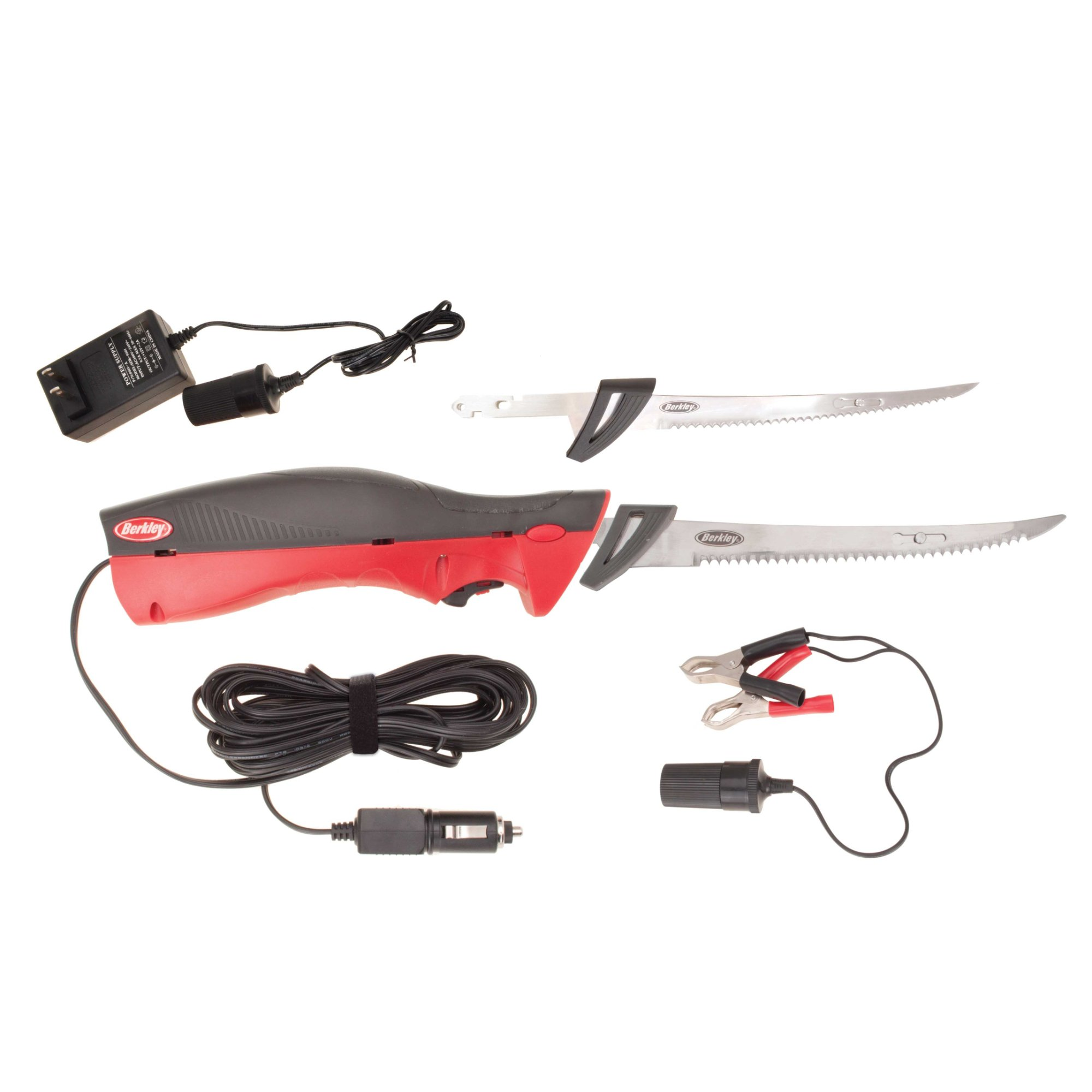 Berkley Fillet Knife Deluxe Electric with Stndrd/Vehicle Plg/Bttry Clips/Case, Red/Blk
