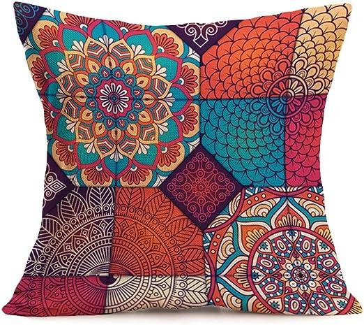 Set Of 2 Pcs Fringe Mandala Pillow Case 16x16 Boho Sofa Throw Cushion Cover