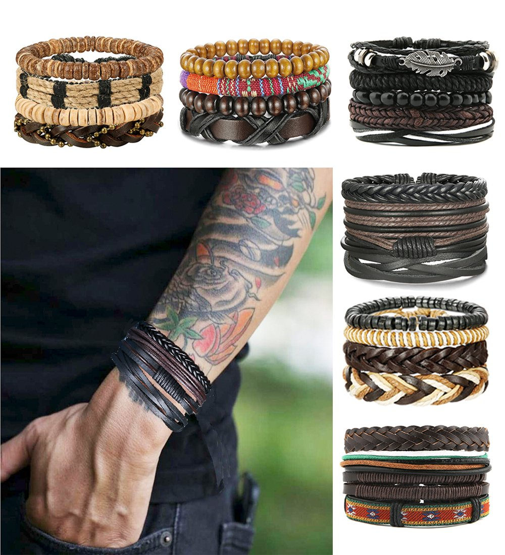LOLIAS 24 Pcs Woven Leather Bracelet for Men Women Cool Leather Wrist Cuff Bracelets Adjustable L-SDL-24PSL-SMS