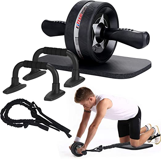 Abs Roller Abdominal Trainer Fitness Exercise Workout Machine Home Gym 2x Wheels