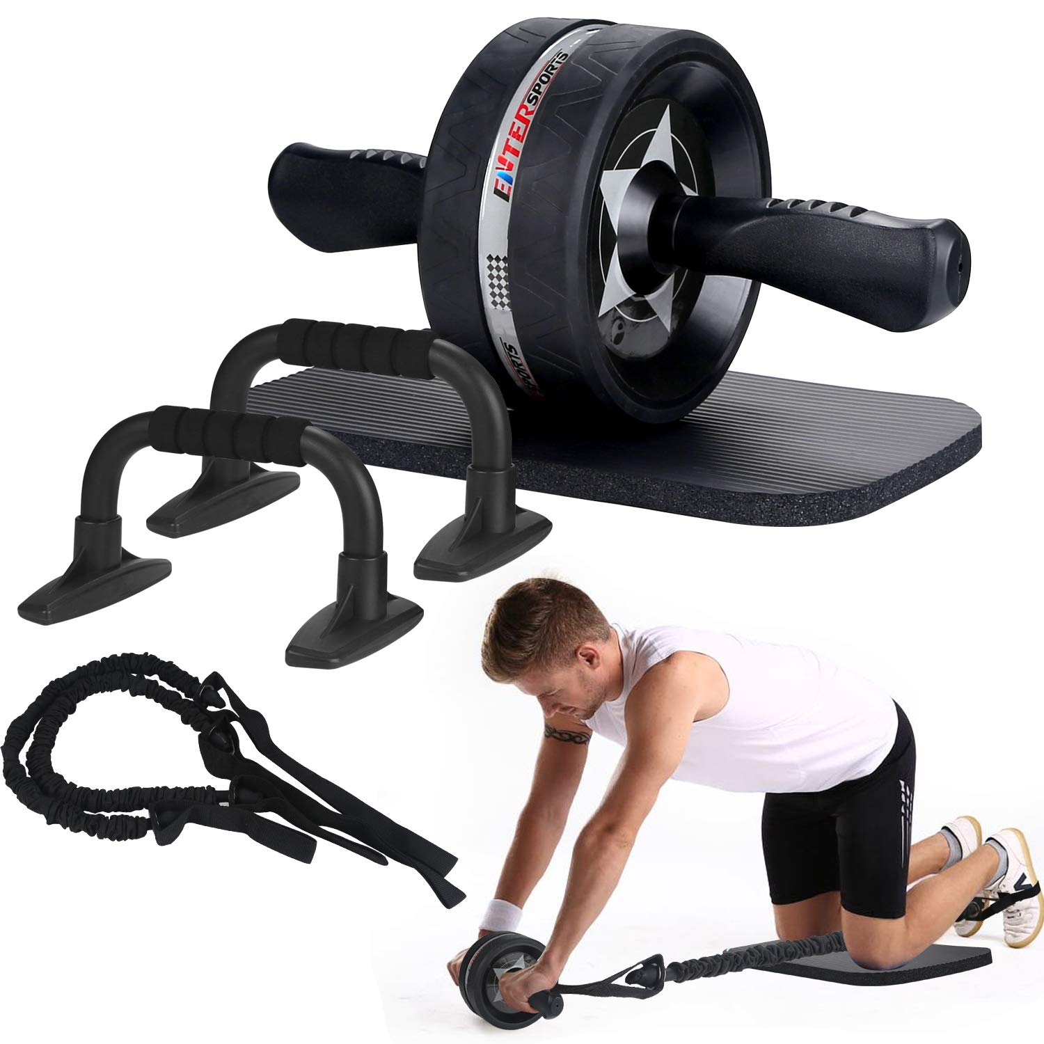 EnterSports AB Wheel Roller, 6-in-1 Exercise Roller Wheel Kit with Knee Pad, Resistance Bands, Pad Push Up Bars Handles…