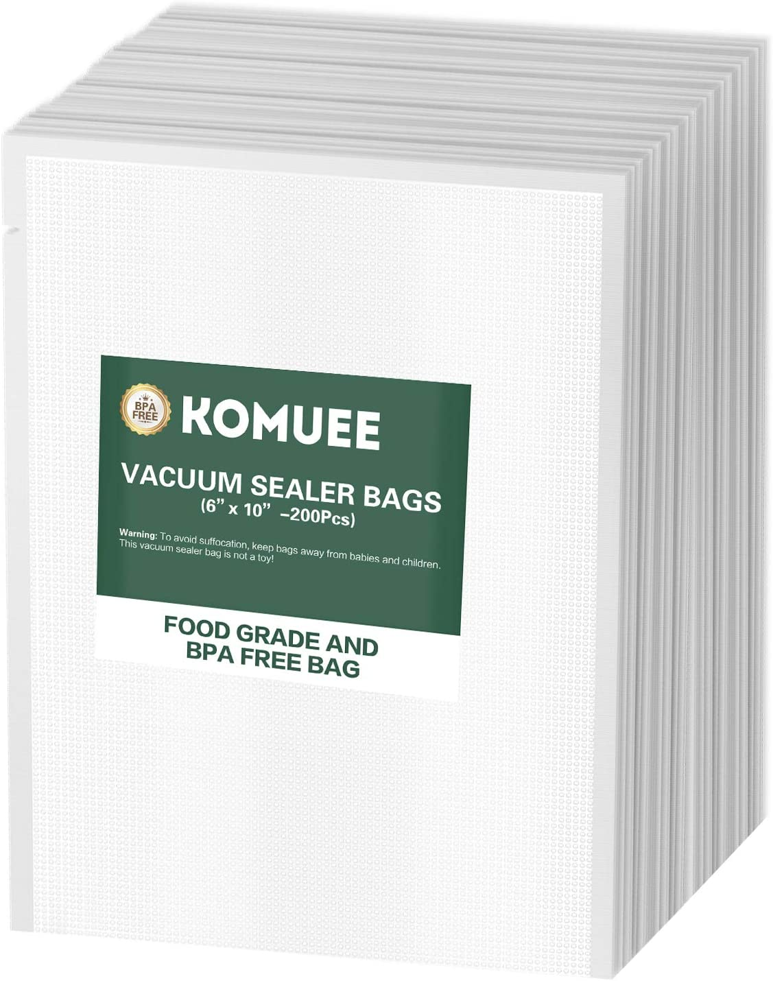 Vacuum Sealer Bags, KOMUEE 200 Pint Vacuum Sealer Storage Bags 6x10 Inch for Food Saver, Seal a Meal Sealers, Heavy Duty Commercial Grade, Sous Vide Vaccume Meal Safe, Universal Pre-Cut Bag