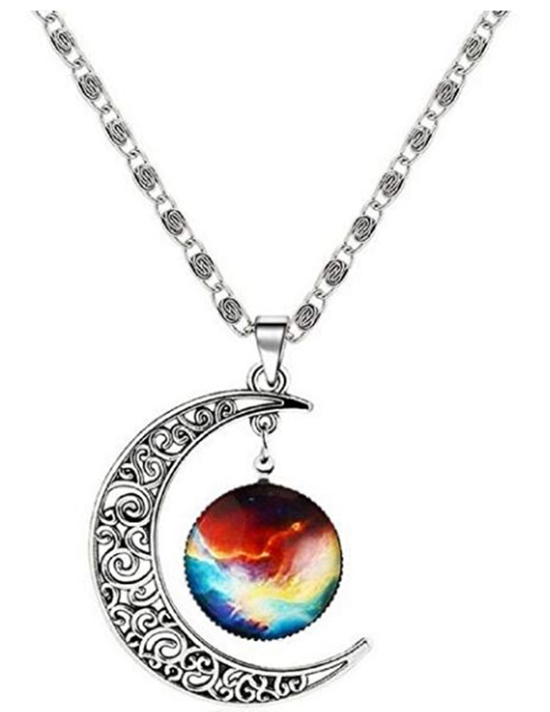 Adorit Mystical Galaxy & Crescent Moon Cosmic Colorful Pendant Necklace, Blue Glass, 17.5'' Chain, Great Gift for Holidays, Birthdays, Special Days