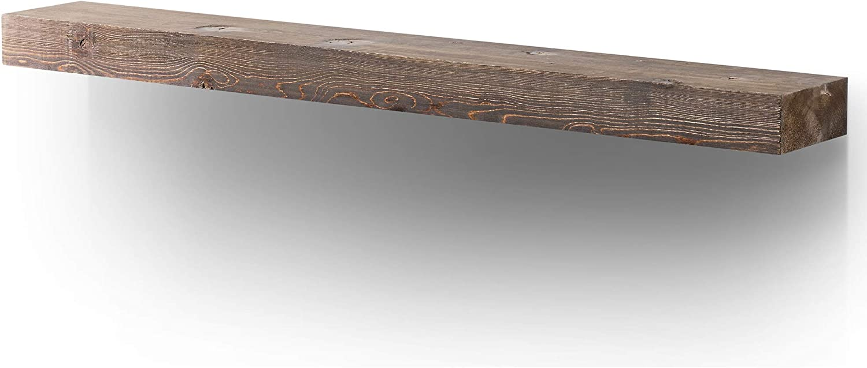 BoscoMondo Rustic Fireplace Mantel Floating Shelf - 60'' X 7'' X 3'' Solid Pine Wood - Wall Decor, Mounted Farmhouse Shelving - Invisible Heavy Duty Bracket (Brown, 60'')