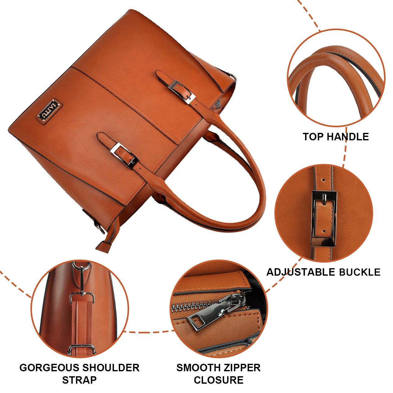 IAITU Laptop Tote Bag,15.6 Inch Crossbody Laptop Bag Casual Work Business Handbag with Smooth Zipper for Women(Brown) by IAITU (Image #5)