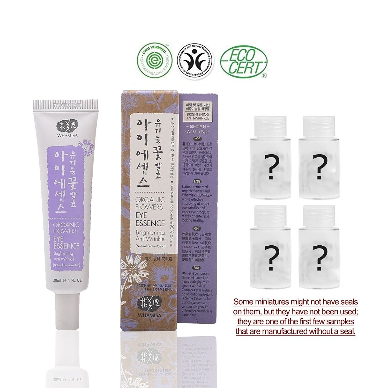 Whamisa Organic Flowers Eye Essence 30ml, 1.01 fl. oz. with 4 random Organic miniatures for skin care | Naturally fermented | EWG Verified | BDIH Certified