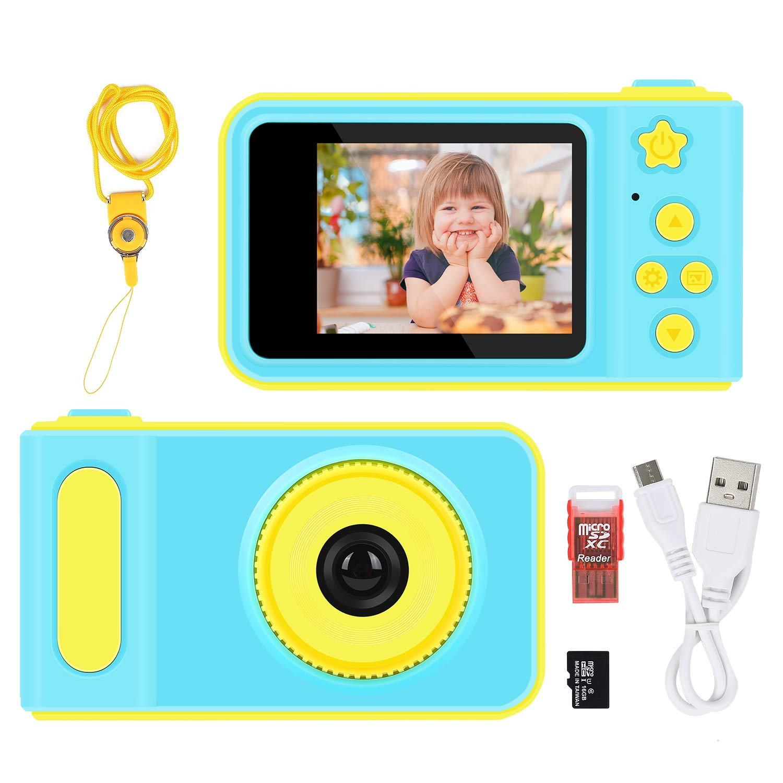LOXROZ Kids Digital Camera Mini 2 Inch Screen Children's Digital Camera with Card Reader & 16G Micro SD Card (Blue) by LOXROZ (Image #1)