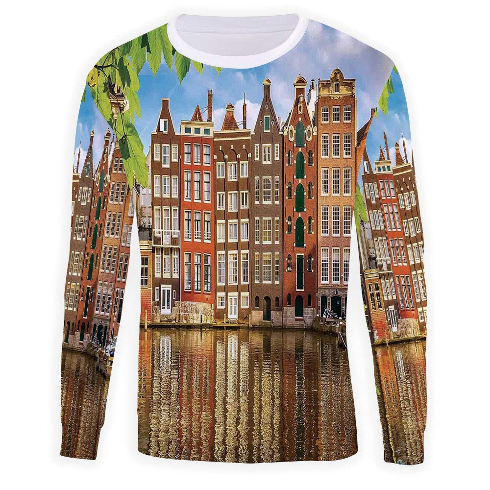 MOOCOM Mens Crewneck Cityscape Sweatshirt