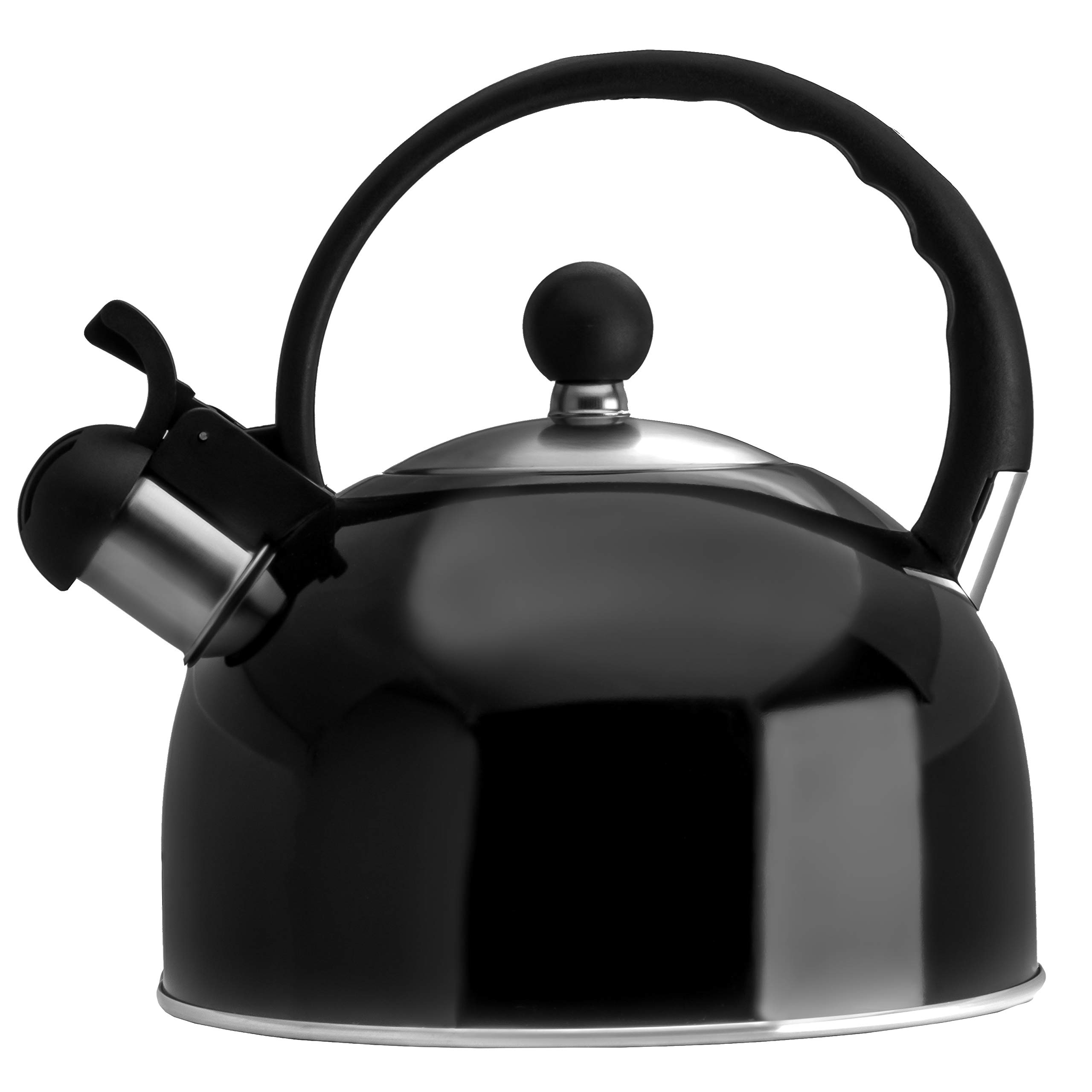 2.5 Liter Whistling Tea Kettle - Modern Stainless Steel Whistling Tea Pot for Stovetop with Cool Grip Ergonomic Handle - Black by Venoly